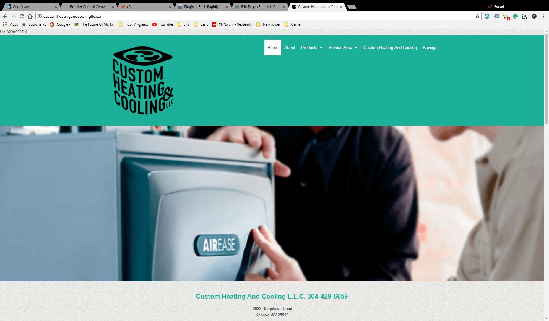 custom heating and cooling llc, Four V LLC, Webdesign